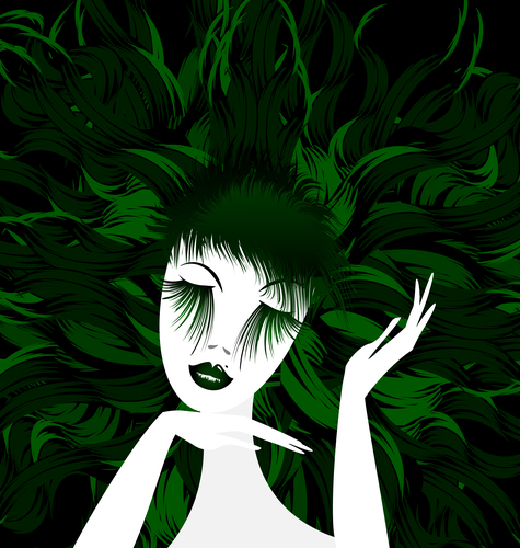 abstract green lady