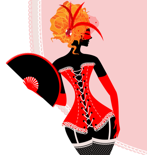 red lady in corset with fan
