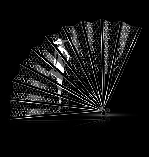white lace fan
