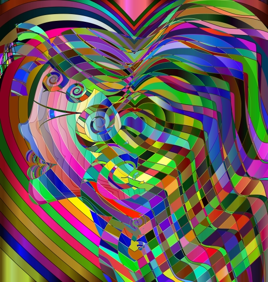colored abstract head of girl